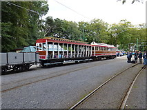 SC4384 : Tram + trailer + wagon at Laxey by Dr Neil Clifton