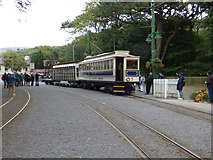 SC4384 : Laxey: Car 7 with trailer 48 and tower wagon by Dr Neil Clifton