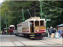 SC4384 : Laxey: Winter Saloon No 22 with trailer and a wagon by Dr Neil Clifton