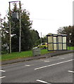 SS9183 : Line spur pole near an A4061 bus stop and shelter, Bryncethin by Jaggery