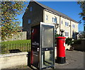 SD9216 : George VI postbox and telephone box on Featherstall Road, Littleborough by JThomas