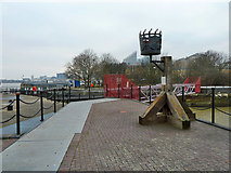 TQ3980 : Beacon by dock entrance lock by Robin Webster