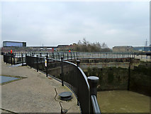 TQ3980 : East India Dock entrance lock (disused) by Robin Webster
