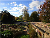 SK6464 : Entrance and formal garden, Rufford Country Park by Jonathan Thacker