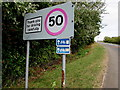 ST5485 : Two cycle route direction signs, Green Lane, Severn Beach by Jaggery