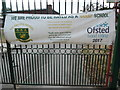 TQ0196 : Banner outside The Russell School, Chorleywood by David Hillas