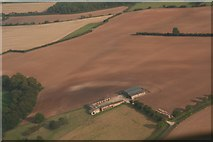 TF4571 : Ploughed out earthwork and soil marks at Claxby St. Andrew: aerial 2018 (1) by Chris