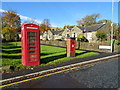 SD9808 : George VI postbox and telephone box on Friarmere Road, Delph by JThomas