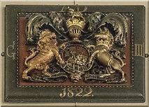 SE3265 : St John the Baptist, Bishop Monkton - Royal Arms George III by John Salmon