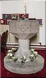 SE3265 : St John the Baptist, Bishop Monkton - Font by John Salmon