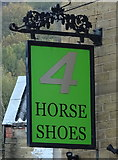 SE1115 : Sign for the 4 Horseshoes public house, Huddersfield by JThomas