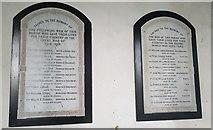 TG3609 : War memorials inside St Peter's church, Lingwood by Helen Steed