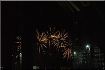 TQ1985 : View of fireworks in the Light Up the Night event from the Wembley Stadium walkway #7 by Robert Lamb