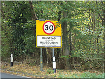 TL8131 : Halstead Town Name sign on the A1124 Hedingham Road by Adrian Cable
