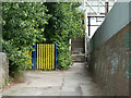 TQ5188 : Path to footbridge over railway by Robin Webster