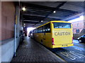 ST3188 : Yellow Manchester coach at bus stop Q2, Queensway, Newport by Jaggery