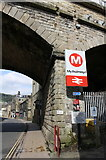 SE0125 : Railway bridge over New Road at entrance to Mytholmroyd Station by Roger Templeman