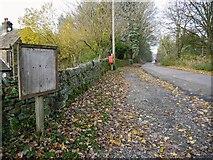 SK1789 : Old noticeboard and postbox along Derwent Lane, Ladybower Reservoir by Benjamin Shaw