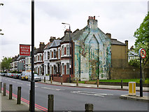 TQ2775 : Faded mural, Elspeth Road, SW11 by Robin Webster