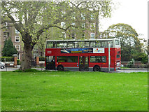 TQ2775 : 49 bus at bus stand on Bolingbroke Grove by Robin Webster