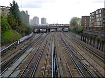 TQ2775 : Railway tracks towards Clapham Junction station by Robin Webster