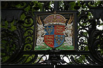 TL4458 : Arms of King's College, Cambridge, over its entrance on the Backs by Christopher Hilton