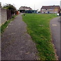 SS8880 : Elongated grass triangle, Llangewydd Road, Bridgend by Jaggery