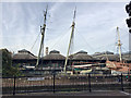 TQ3480 : Ships' masts, Tobacco Dock, Wapping by Robin Stott