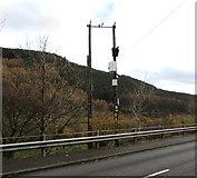 SS9389 : Cemetery Road line spur pole, Ogmore Vale by Jaggery