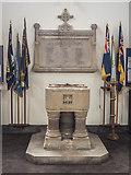 TL4196 : St Peter, March - Font & War Memorial by John Salmon