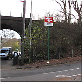 ST1494 : Ystrad Mynach railway station name sign by Jaggery