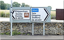 ST8080 : Road Sign, Acton Turville, Gloucestershire 2011 by Ray Bird