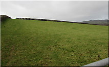 SO0327 : Field and distant hedge near Llanfaes, Brecon by Jaggery