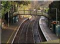 ST1594 : View of a footbridge from a footbridge, Rhymney Line, Hengoed by Jaggery