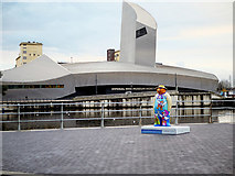 SJ8097 : Walking with the Snowman at The Quays by David Dixon