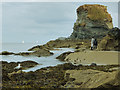 SX0351 : Fishing the rock pools at Charlestown by Stephen Craven