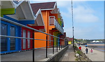 TA0390 : Beach huts along the North Bay Promenade, Scarborough by Mat Fascione