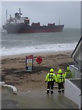 SW8031 : Emergency services personnel standing by for the beached Kuzma Minin by Rod Allday