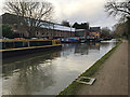 SP2865 : Cruising narrowboats at their winter moorings, Grand Union Canal, Warwick by Robin Stott
