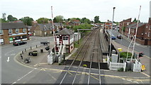 SK8508 : Oakham Level Crossing & view towards station by Colin Park