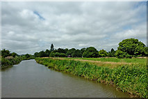 SK0220 : Canal and pasture near Bishton in Staffordshire by Roger  Kidd