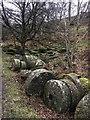 SK2479 : Abandoned millstones in Bolehill Quarry by Graham Hogg
