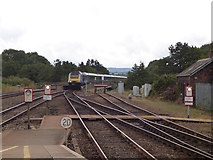 SX9193 : Up train approaching Exeter by Stephen Craven