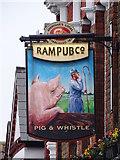 TQ2572 : Pig & Whistle pub sign by Matthew Chadwick