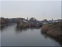 SO8453 : Diglis river locks from the footbridge over the Severn, Worcester by Jeff Gogarty