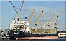"J3576 : The ""Warnow Merkur"", Belfast harbour (January 2019) by Albert Bridge"