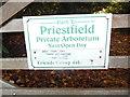 SU9099 : Notice at Priestfield Arboretum (2) by David Hillas