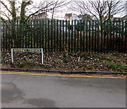 ST1586 : Rhymney Terrace name sign and fence, Caerphilly by Jaggery