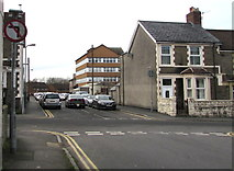ST1586 : No left turn sign facing Pentrebane Street, Caerphilly by Jaggery