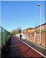 TL4857 : Cherry Hinton: cycling past a corrugated fence by John Sutton